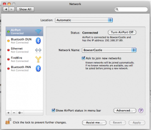 Network Control Panel on Mac