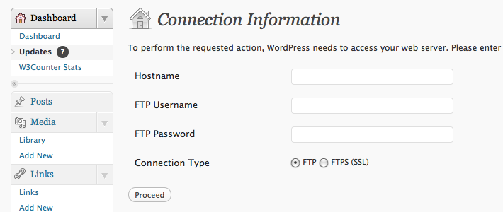 Wordpress Asking for FTP Details