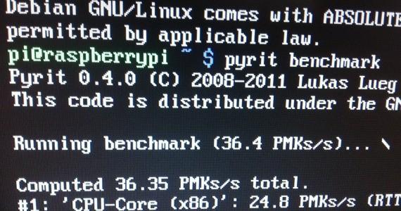 Raspberry Pi Pyrit Benchmark